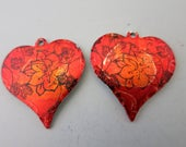 Mandala Heart Earring Charms,  22x20mm, Hammered Aluminum, Hand Painted Alchol Ink, One of a Kind, Ready to Ship