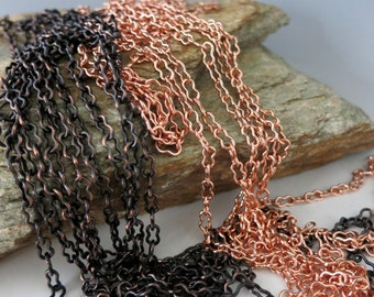 Copper Peanut Chain, 4x7mm Unsoldered Links, Bulk Chain 3Ft to 20FT, Bright Copper or Hand Oxidized, USA Made