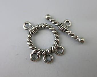 Focal Rope Toggle Clasp, 3 Loops for Dangles, Cast Antique Pewter, Choose 1 or more, Made in USA, Ready to Ship