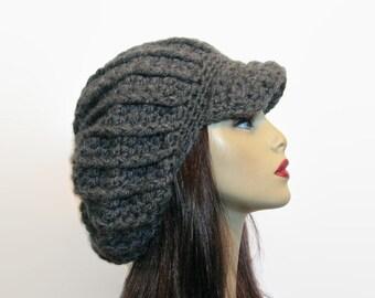 Gray Crochet newsboy hat dreadlocks hat Gray rasta hat Knit newsboy Cap Oversized Hat Newsboy Hat Slouch Cap with Visor Adult Newsboy Cap