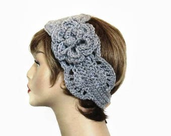 Gray Crochet Headband with Flower Gray  Head Band Silver Headband Gray Earwarmer Gray knit Ear warmer silver gray headwrap Gray headwrap