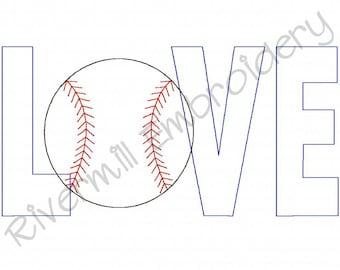 Raggy Applique Baseball Love Machine Embroidery Design - 4 Sizes