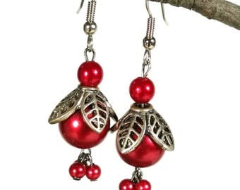Red Pearl Earrings, Red Dangles, Silver Leaves, Pearl Charms, Ruby Red Earrings, Love Red