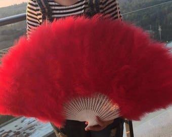18*32inch Large  Burlesque Fan Dance  feather fan Bridal Bouquet Party Dance Fan Showgirl Large Fan Red
