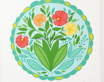 """Floral Hex Sign 8""""x8"""" print"""
