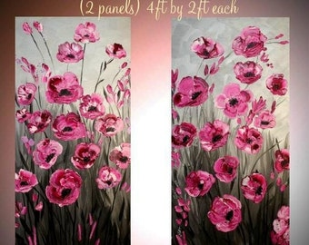 SALE Original Two Panel Oil Pink Cherry Blossom Tree Abstract Original Modern palette knife impasto Oil painting by Nicolette Vaughan Horner