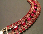 Now On Sale Vintage Red Pink Rhinestone Teardrop Multi Row Deco Opera Holiday Bracelet, 1950's 1960's Old Hollywood Glamour Style Jewelry