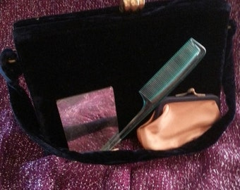 Now On Sale Vintage Black Velvet Purse 1950's 1960's Mad Men Mod Clutch Box Handbag Rockabilly Mid Century Accessories