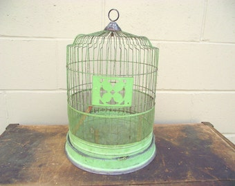 Shabby Antique Verdigris Bird Cage Round Birdcage - Retro Wedding Display - Decorative Cottage Chic French Country Farmhouse Garden Decor