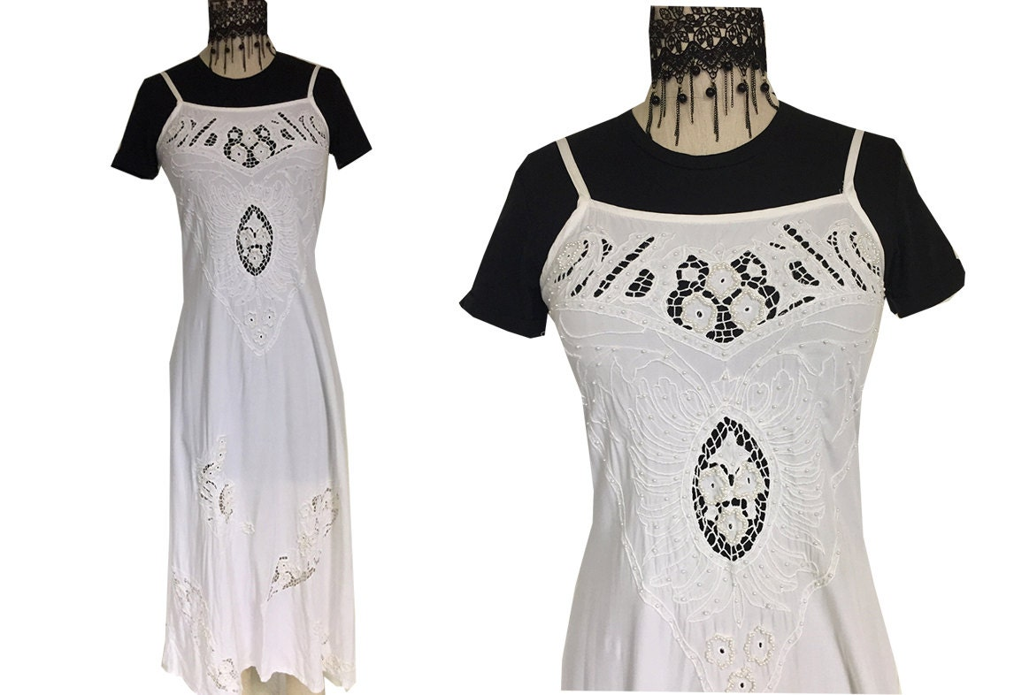 Beaded White Simple Cutout Bohemian Long Maxi Wedding Batik Dress