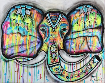 Elephant poster, henna , colorful, paint drip, mixed media, charcoal, india, indian, buddhist, buddha, zen, wall art, elephants, decor