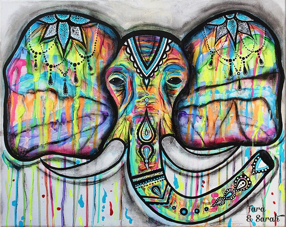 Elephant poster henna colorful paint drip mixed media for Posters art contemporain