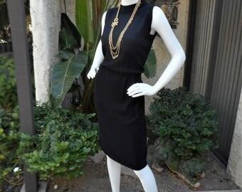 Vintage 1970's Black Knit Dress with Open Back - Size 12
