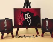 "Scream Ghostface inspired 3-Mini 5""x7""& 3""x3"" Canvas Set - Original Acrylic Paintings by Lee Howard"