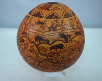 Hand Carved Peruvian Story Teller Folk Gourd, Museum Quality Carving, Folk Dance Scene Carving, David Garcia