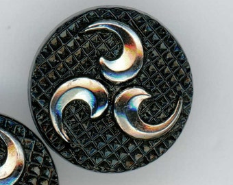 Set of 2 Vintage Black Glass Sewing Buttons with Pinwheel Triad Design ~ 9/16 inch 14mm ~ Silver Luster & Quilted Background