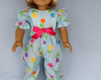18 inch doll rompers and hair clip. Fits American Girl Dolls.  Blue and white gingham floral print.