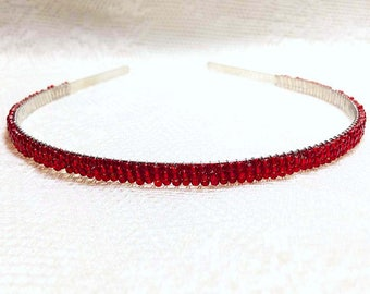 Ruby Red Beaded Headband Tiara - Alice Hair Band - Sparkle Collection (Limited Edition) HB5SSL-8