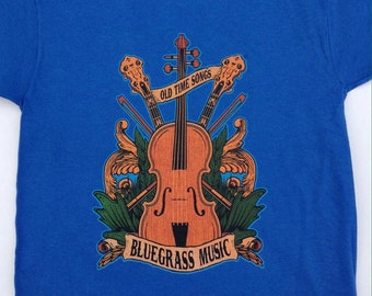 SALE YOUTH bluegrass tee shirts - country music string band music inspired - little hippies musical instruments banjo fiddle