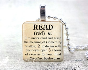 Read Dictionary Definition Necklace - Book Lover Bookworm Librarian Teacher 1 inch Wood Tile - Book Club Reading Jewelry