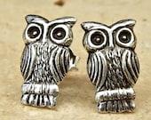 Vintage Sterling Silver Cute Owl Earrings
