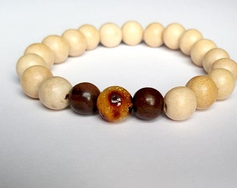 Baltic Amber and White Tree Bracelet for Him