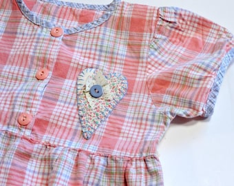 Summer Toddler Dress, Pink Plaid Patchwork Heart Applique Original Eco Baby Girl 12-18 mo Sweet Party Wedding Valentine Dress itsyourcountry