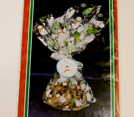 Snowman cellophane cookie tray bags christmas clear