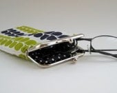 Glasses Case with Metal Clasp - Navy and Lime Green Cotton Print , Sunglassses Holder, Fabric Spectacle Pouch, Pencil Case