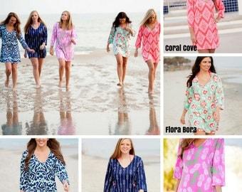 Lilly Inspired Preppy Monogram Tunic - Beach Cover up - Swim suit cover - Summer Dress - Women's Teens - Spring Break - Girly Nautical