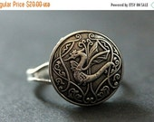 HOLIDAY SALE Celtic Dragon Ring. Celtic Knot Button Ring. Silver Button Ring. Adjustable Ring. Handmade Jewelry.
