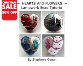 SALE 50% OFF - Hearts and Flowers - Lampwork Bead Tutorial by Stephanie Gough sra fhfteam leteam lampwork tutorial