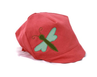 GIRLS reversible coral dragon fly hat - Wee Dee coral organic cotton summer cap-  ages nb to 10 years - xxs xs s m l