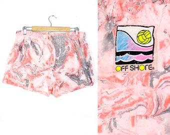 "Vintage Crazy Pattern Pink Marbled ""Off Shore"" Boarshorts Swim Shorts"