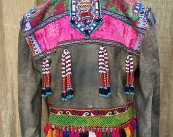 Items Similar To Gray Denim Jacket Frida Kahlo Embellished