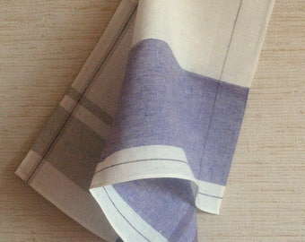 Tea Towel Set Stripes Striped Kitchen Towels Linen Towel Linen Hand Towels Tea Towels Linen Dish Towel Purple White Towels set of 2