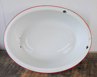 Vintage Oval Oblong Enamelware Tub White with Red Trim