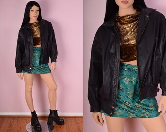 80s Black Leather Bomber Jacket/ Small/ 1980s/ Coat