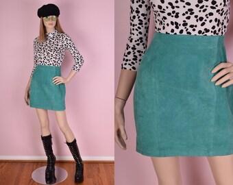 80s Teal Suede Skirt/ 29 Waist/ 1980s