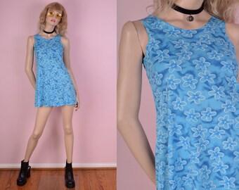90s Blue Floral Print Mini Dress/ Small/ 1990s/ Tank/ Sleeveless