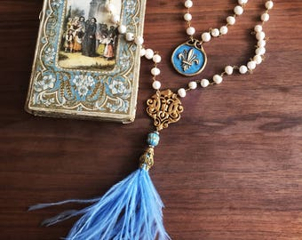 Pearl Necklace with Blue Feather Tassel and Antique French Pendant Freshwater Pearl Necklace French Assemblage Necklace Jewelry Blue Gold