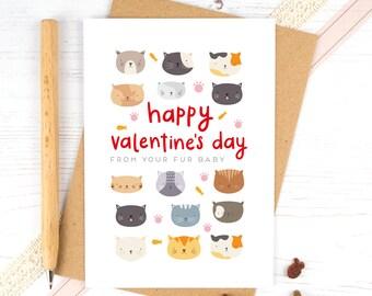 Cat Valentines Card - Pet Valentines Card - Fur Baby - From your fur babies - Cat Mum - Cat Dad