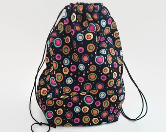 Colorful Dots on Black  Tote, Children's Drawstring Bag, Pajama Bag, Ditty Bag, Library Book Tote
