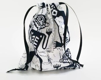 Tribal Skeleton Drawstring Fabric Gift Bag Upcycled, Reusable Day of the Dead