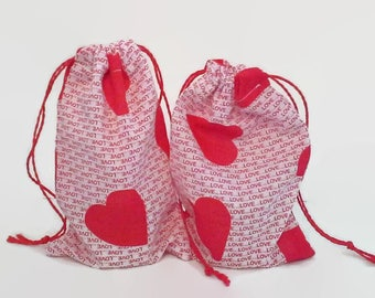 Hearts and Love in Red and White 2 Drawstring Fabric Gift Bags Upcycled, Reusable, Sustainable