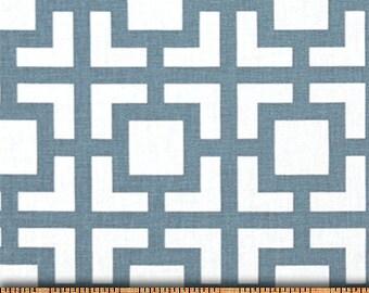 Blue White Gigi Geometric Curtains  Rod Pocket  63 72 84 90 96 108 or 120 Long x 24 or 50 Wide