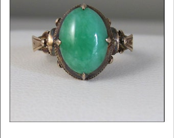 Antique Victorian 14k Rose Gold Jadeite Ring - beautiful green color