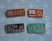 """Set of 4 Vintage Soviet Russian badges,pins.""""Russian cities"""""""