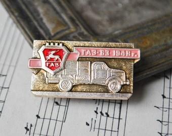 """Vintage Soviet Russian badge,pin. """"Soviet Russian truck-GAZ 63"""""""