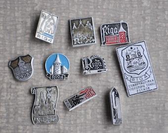 "Set of 10 Vintage Latvian badges,pins.""Riga"".  USSR era."